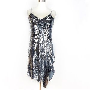 New BAR III Sequin Slip Dress XS silver Party